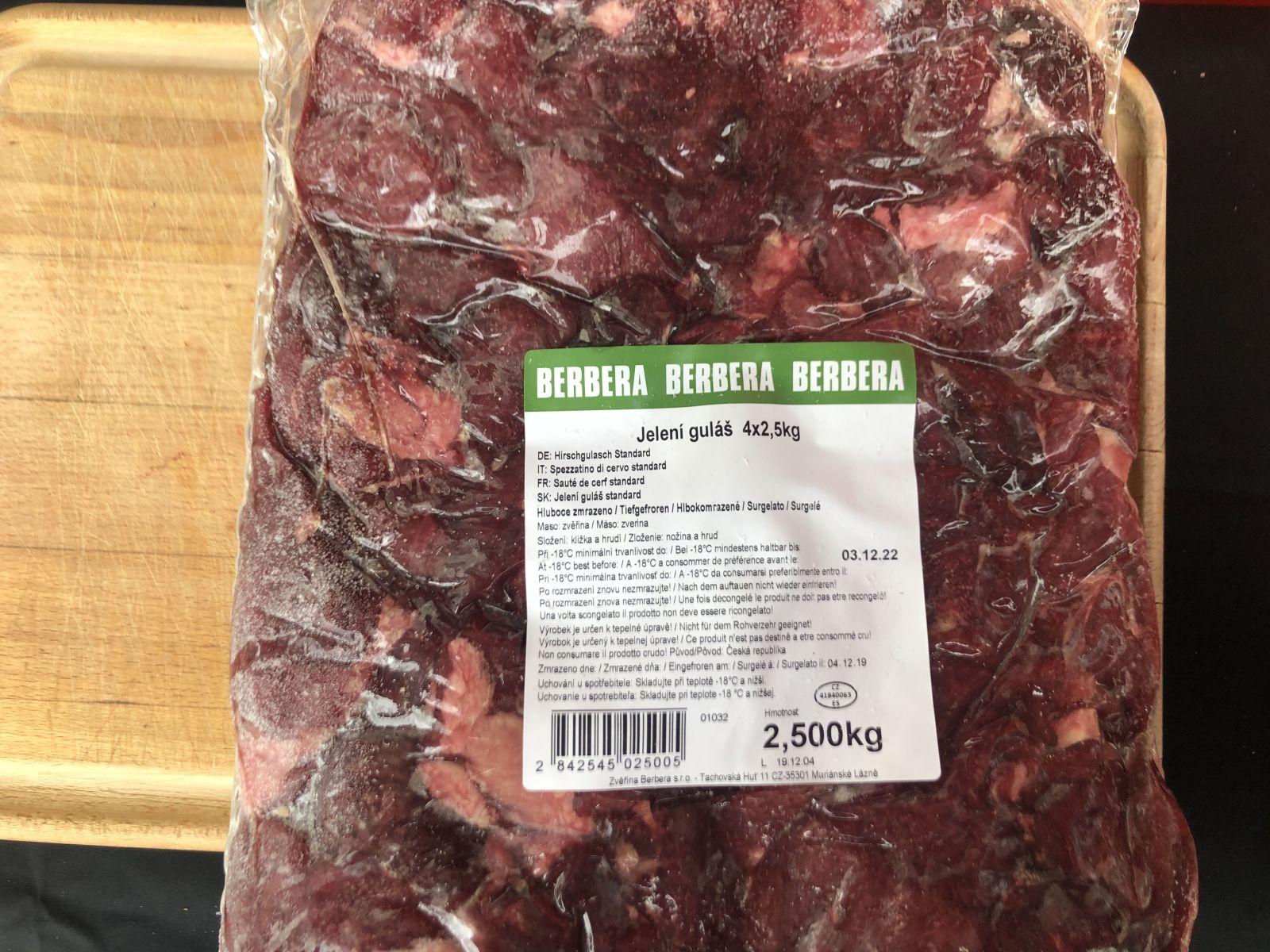 Jelení maso na guláš, mražené